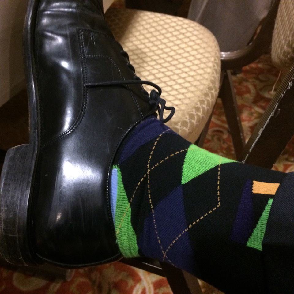 Green, blue and orange plaid socks.