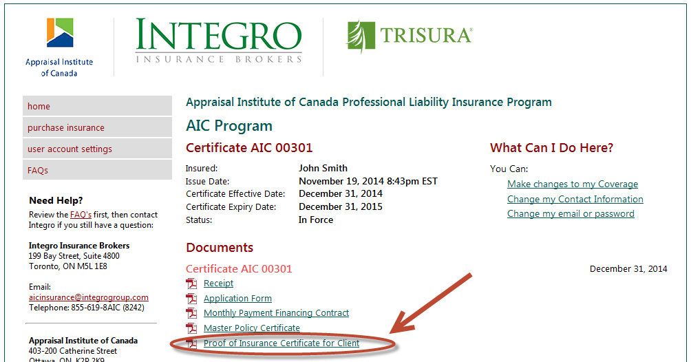 [:fr]Proof of Insurance Certificate for Client[:]